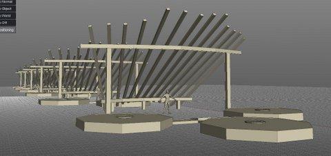 Projet d' Instalation pour une exposition de sculptures contemporaines à Bargas Espagne Lorrina B. Commissaire Simulation 1