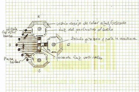 Projet (schéma) d' Instalation d'une exposition de sculptures contemporaines à Bargas Espagne Lorrina B. Commissaire